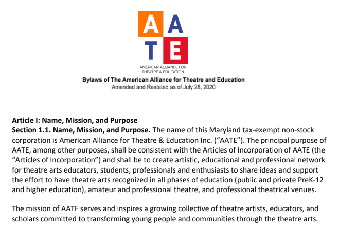 Cover page of the AATE Bylaws